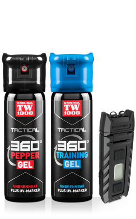 TW1000 TACTICAL Pepper-Gel Classic Twin-Pack inklusive Trainingsspray und UV-Lampe